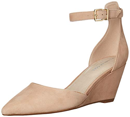 Kenneth Cole New York Women Ellis Wedge Pump with Ankle Strap, Buff, 8.5 M...