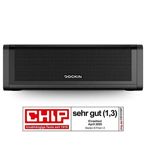 DOCKIN® D FINE+ 2 Hi-Fi Bluetooth Speaker – Lautsprecher für Indoor & Outdoor, 50W, Wireless, wassergeschützt, starker Akku (16 Stunden), Stereo, Bass, Musikbox mit DREI Soundmodi