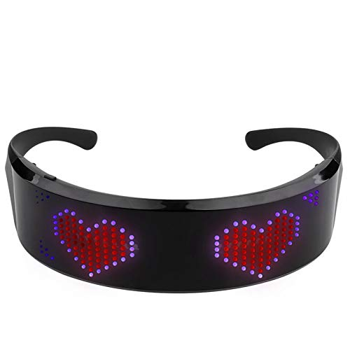 Syan Programmierbare leuchtende Bluetooth-Vollfarb-LED-Brille, mehrsprachige DIY-Schnellblitzbrille, Geburtstagsgeschenk, Jubiläumsüberraschung