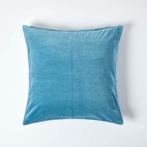 Homescapes - Funda de cojín de terciopelo azul cielo, suave, 60 x 60 cm, con cremallera oculta, color azul