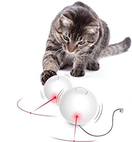 HAPPY HACHI Giocattolo Palla interattivo per Gatti con Campanellino Luce LED Girevole 360 Gradi Giochi Kitten Intrattenimento Spegnimento Automatico Batterie Incluse
