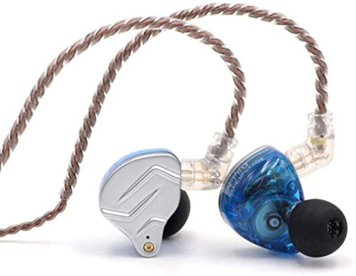 Linsoul KZ ZSN Pro Dual Driver 1BA+1DD Hybrid Metal Earphones HiFi In-Ear Monitor with Detachable 2Pin Cable, Zin Alloy Panel (Without Mic, Blue)