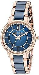 Navy Blue/Rose Gold Swarovski Crystal Ceramic Bracelet Watch