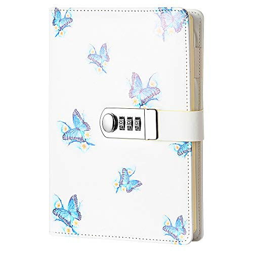 JunShop Creative Password Lock Journal Diary Digital Locking Diary Notepad Book Combination Journal Diary with lock A5 Planner Cover (Style 2)
