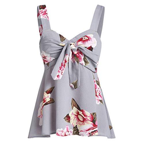 Camiseta de tirantes para mujer, estampado casual, con lazo, estampado floral, para Pascua, día de San Patricio, color gris