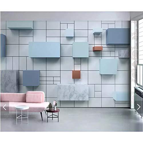 Papel pintado mural azul cuadrado geométrico abstracto 3D, utilizado para el papel pintado de la decoración de la pared de la sala de estar