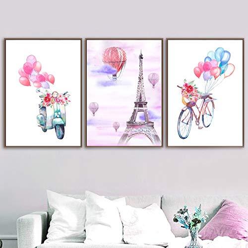 Geen frame Motorfiets ballon fiets parijs toren muur canvas schilderij nordic posters en prints woonkamer woondecoratie muur pa40x60cm