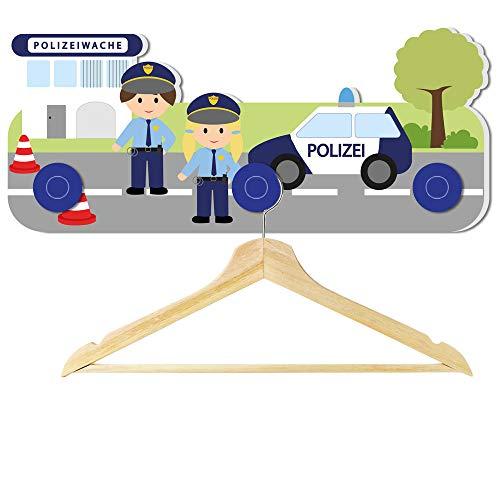 Lasse und Lucie Kindergarderobe Motiv Polizei / 30 x 16 x 1 cm / aus Stabiler Hartschaumplatte / mit 3 Haken