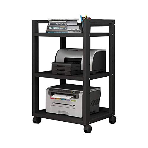 Zuoao Printer Shelf Mobile Office Organiser Layer Distance can be Adjusted, 4 Wheels,All Black