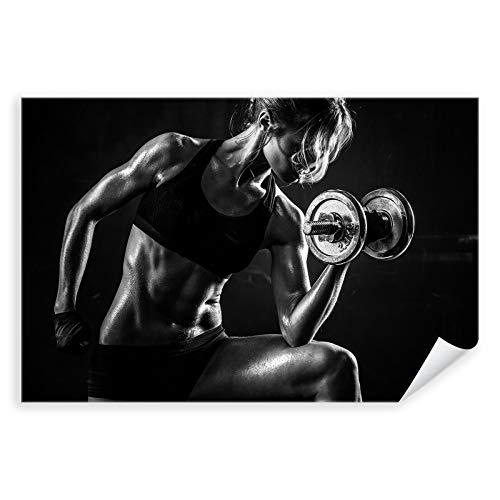 Postereck - 3059 - Frau Fitness, Sport Training Bodybuilding - Wandposter Fotoposter Bilder Wandbild Wandbilder - Leinwand - 75,0 cm x 50,0 cm