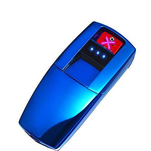 Mechero electrónico LINGAN de doble arco USB resistente al viento, encendedor eléctrico de doble arco, sin llama recargable de plasma para cigarrillos y velas de papel, azul