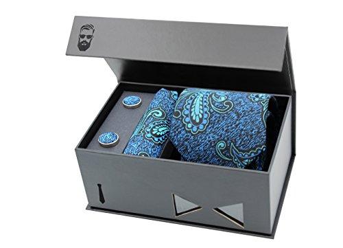 Schlipster Krawatten-Set - Premium Box mit Krawatte, Einstecktuch und Manschettenknöpfen (Blau Paisley)