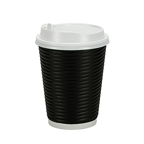 Nicole Home Collection PREMIUM Disposable Hot Paper Cups With Lids, Double Wall & Ripple Insulation For Heat Protection, Black, 30 Count-12 oz, Size 12 Oz