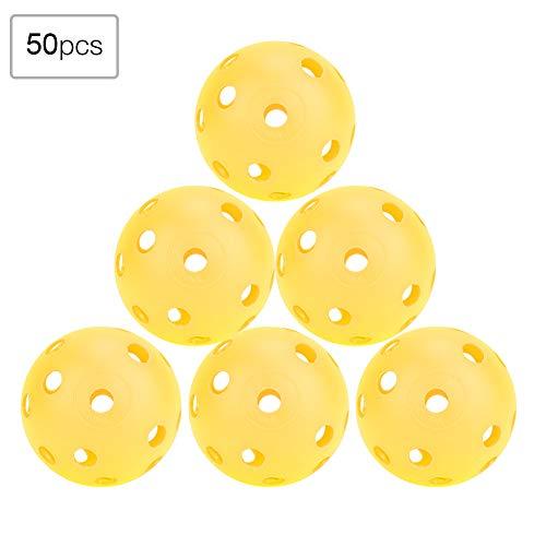 Ruiqas 50 Stück Üben Golfbälle Kunststoff Luftstrom Hohle Golfbälle für Driving Range Swing Training Indoor/Outdoor-Einsatz