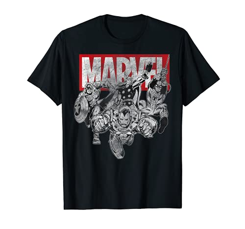 Marvel Avengers Group Attack Vintage Comic Graphic T-Shirt