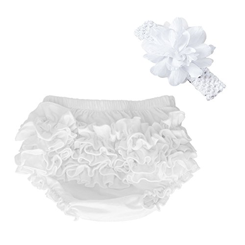 muyan Wholesale Cotton Baby Bloomers Baby Girls Diaper Covers Bloomers Shorts+Headband in Set (White, L(12-24Month))