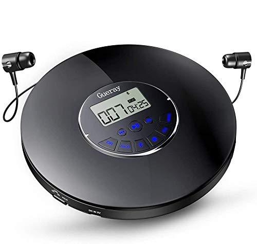 Gueray Bluetooth Tragbarer CD Player mit Integrierte 1400mAh-Akku Lithium-Batterie 12 Stdn. Spielzeit CD Player Tragbar mit Kopfhörer Skip-Schutz Kopfhörer für Hörbücher Musikhören