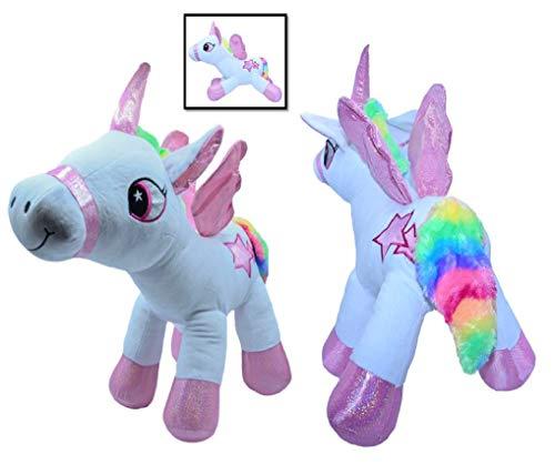 ML Peluche Unicornio Caballo de pie con alas Fucsia y Blanco con Púrpura Aplicaciones de Estrella y Cola multilocor de Felpa Suave 50cm Peluche para niñas y niños