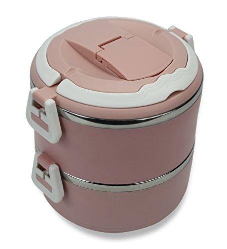 Moshi Moshi - Fiambrera redonda de colores a elegir, acero inoxidable, rosa salmón, 15cm diameter x 17cm high