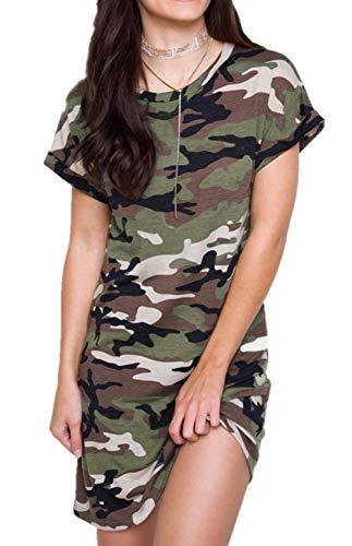 PALINDA Women's Crewneck Camouflage Print Short Sleeve Casual T-Shirt Dress