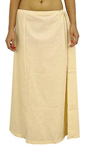 Saree sottogonna in cotone indiano fodera per Sari Bollywood regalo per donne Beige Taglia unica