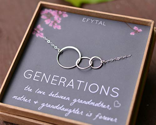 EFYTAL Generations Necklace for Grandma Gifts – Sterling Silver Mom Granddaughter Mothers Day Jewelry Birthday Gift