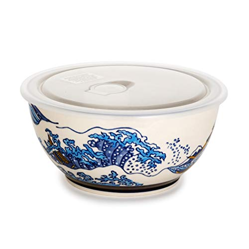 Microwave Ceramic Bowl With Vented Lid Ideal For Food Prep Freezer Fridge Food Storage Meal Planning Lunch Box (Great Wave 7')