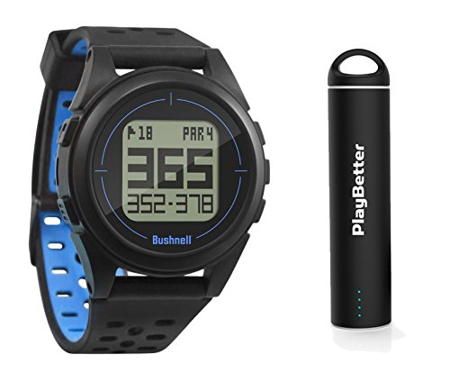 PlayBetter Bushnell iON2 Golf GPS Watch (Black/Blue) Power Bundle Portable USB Charger | Simple, Intuitive Golf GPS Watch | 36,000+ Worldwide Courses | 2018 Version