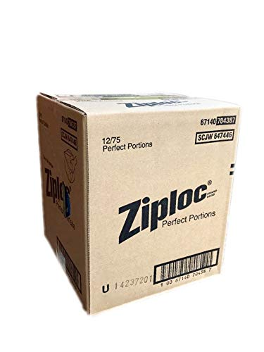 Ziploc Perfect Portions - Sealed Manufacturer Case Pack of 12 (75 Count Each) - Total of 900 Bags