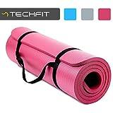 TechFit Tapis de Yoga et Fitness, Extra Epais 10mm, 180 x 60 cm, Parfait pour des Exercices au Sol, Le Camping, Le Gym, des Stretching, des Abdominaux, Les Pilates (Rose)