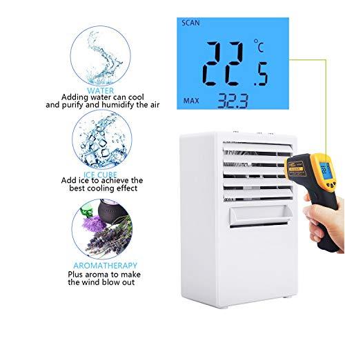 Winload Mini Luftkühler mit Wasserkühlung, 3 in 1 Mini Air Cooler, 3 Kühlstufen, Luftbefeuchter, Luftreiniger, Persönliche Klimaanlage, Tragbare Klimagerät für Büro, Wohnheim
