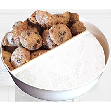 Just Crunch Anti-Soggy Cereal Bowl By Just Solutions - Keeps your Cereal Fresh and Crunchy | BPA Free and Microwave Safe | For Ice Cream & Topping, Yogurt & Berries, Fries & Ketchup and More - White