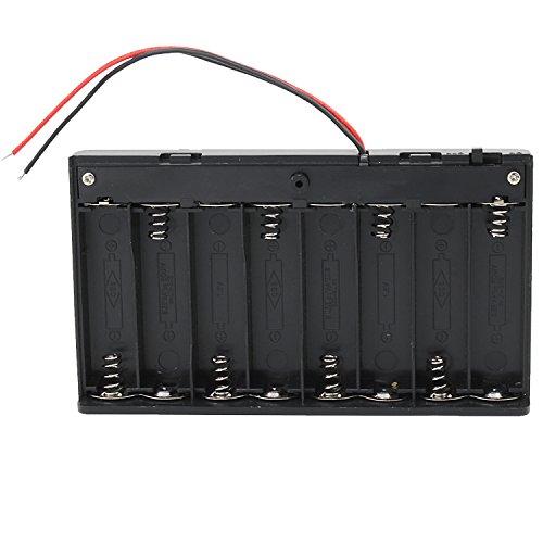 KEESIN AA 12V Batteriehalter Fall Kunststoff Akku Aufbewahrungsbox mit EIN / AUS Schalter und Befestigung Kabelbinder (8 Solts * 2 Stück)