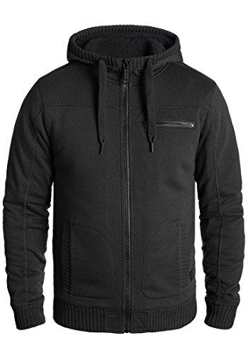 Blend Moreno Herren Winter Sweatjacke Kapuzen-Jacke Zip-Hoodie Pullover mit Teddy-Futter, Größe:M, Farbe:Black (70155)