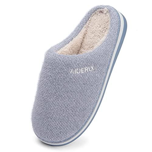 GAXmi Pantuflas Invierno Mujer Zapatillas de Casa Hombre Interior Cómodo Felpa Zapato Cálido Suave Azul 42/43 EU
