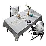 MCZ White Waterproof Embroidery Tischdecke Dekoration Rechteck Tischdecke Staubdichte Tischdecke Für Zuhause/Restaurant/Hotel (Weiß + Diamon, 140x250cm)