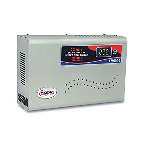 Microtek EM 5090 Automatic Voltage Stabilizer for Air Conditioners up to 2 Ton, 90V-300V (Metallic Grey)