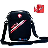 PracMedic Bags First Aid Bags Empty- Holds Diabetic Supplies, Epipen, Antihistamine, Supplement Organizer- Insulated Medicine Bag The Perfect Safety Kit During Travel and School (Black)