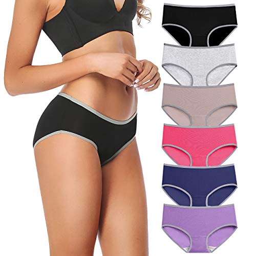 Women Cotton Underwear Bikini Full Coverage Panties Soft Stretch Breathable Hipster Ladies Briefs 6 Pack