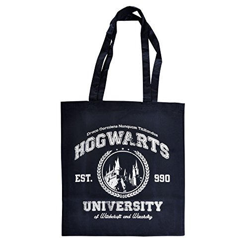 Elbenwald Shopper Beutel Magic University Hogwarts Frontprint für Harry Potter Fans 38 x 41 cm Baumwolle blau