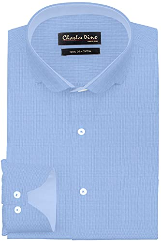 Charles Dino 100% Giza Cotton Light Blue Small Checks Shirt for Formal Casual wear