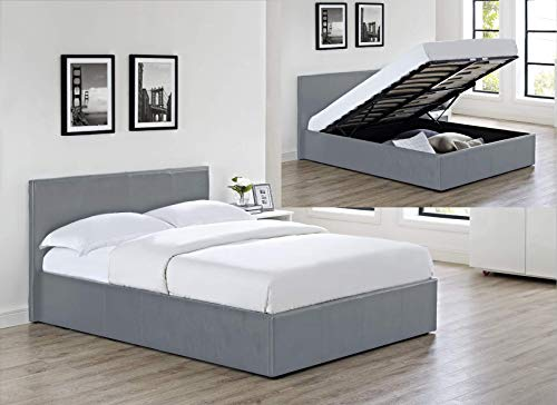 Luna Siesta Ottoman Storage Bed in (Grey Faux Leather, 4Ft Small Double)