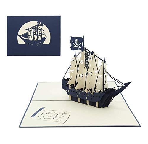 3D Grusskarte Piraten Schiff Boot Geburtstagskarte Einladungskarte Kinder Party