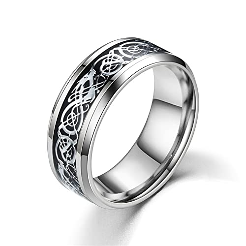 Dragon Scale Dragon Pattern Rings Titanium Steel Celtic Ring Jewelry for Mens 7-13