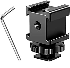 MEKNIC Camera Hot Shoe Mount Adapter 360 Degree Swivel Triple Cold Shoe Bracket for Monitor Microphone LED Video Light Compatible with Sony Canon Nikon DSLR Compact Camera Vlog Film