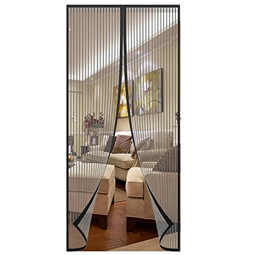 Insulated Magnetic Screen Door Curtain Upgraded Door Mesh Screen with Magnets,Hand-Sewn Door Screen Magnetic Closure with Full Frame Hook Loop,Keep Bug Outside 3983inchs(Black)