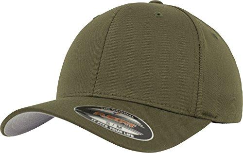 Flexfit Unisex Baseball Cap Wooly Combed, Kappe ohne Verschluss für Herren, Damen und Kinder, Farbe olive, Größe S/M