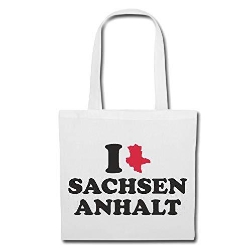 Tasche Umhängetasche I Love Sachsen Anhalt - Deutschland - Germany - Bundesland - Hauptstadt Einkaufstasche Schulbeutel Turnbeutel in Weiß