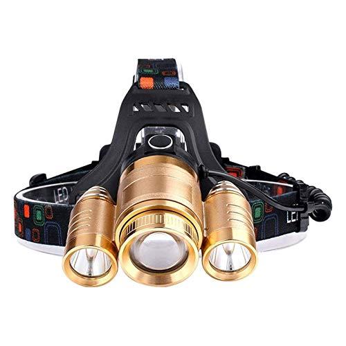 HKJZ SFLRW Lámpara de Cabeza LED Recargable.Faros para Adultos, Camping, al Aire Libre y Trabajo de Sombrero Duro.Faro IPX45 zoomable