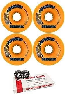 Seismic Skate Systems 76mm Hot Spot Mango Defcon Skateboard Wheels - 78.5a with Bones Bearings - 8mm Bones Swiss Skateboard Bearings (8) Pack - Bundle of 2 Items